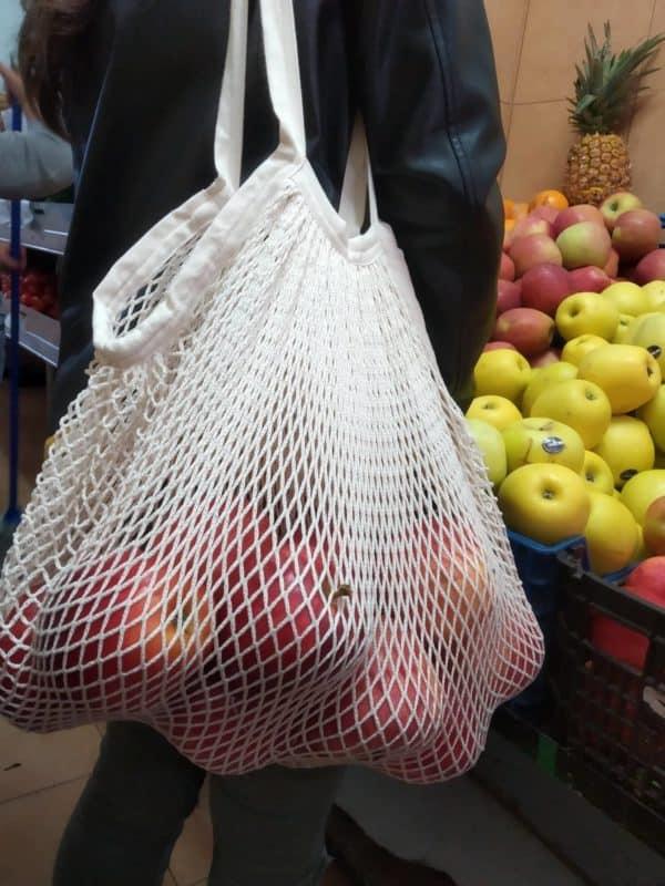 Compras sem plástico, saco algodao, saco em rede algodao organico, zerowaste,