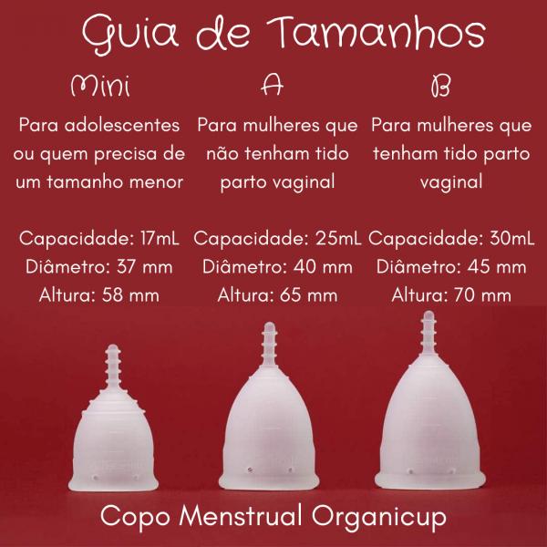 Guia de tamanhos copo menstrual organicup